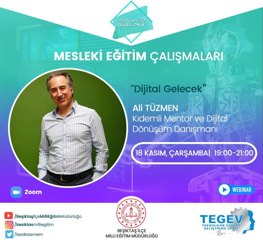 """TEGEV eğitim gönüllüsü Ali Tüzmen'den öğretmenlere """"Dijital Gelecek"""" semineri"""